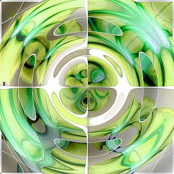 Tracey Harrington-Simpson - Lime and Green Abstract Collage