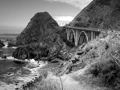Joyce Dickens - Lime Creek Bridge Highway 1 Big Sur CA B And W