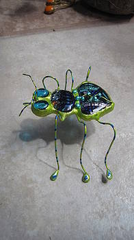 Lime Green Dichroic Bug by Maxine Grossman