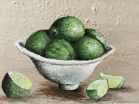Limes in a White Bowl by Sweeney