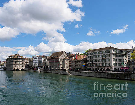 Limmat Quai in Zurich Switzerland by Louise Heusinkveld