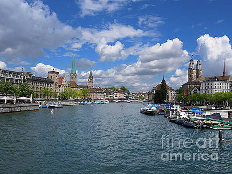 Limmat River and the Old Town of Zurich Switzerland by Louise Heusinkveld