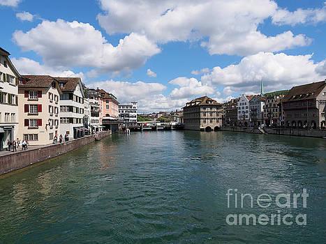 Limmat River crosses the Altstadt in Zurich Switzerland by Louise Heusinkveld