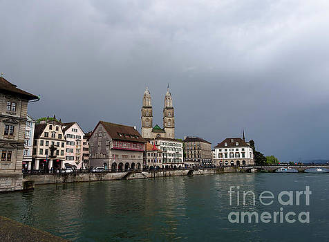 Limmat waterfront on a stormy day in Zurich Switzerland by Louise Heusinkveld