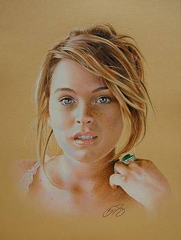 Lindsay Lohan - Colored Pencil by Brian Duey