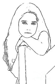 Line Drawing of  a Girl by Wernher Krutein