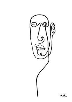 Lined Male Portrait  by Cortney Herron