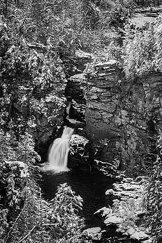 Linville Falls and Snow in Black and White by Matt Plyler