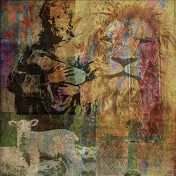 Lion and Lamb collage by Angela Holmes