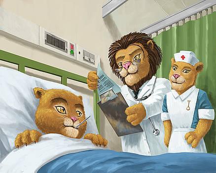 Martin Davey - lion cub in hospital