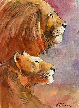 Lion, lioness by Ron Wilson