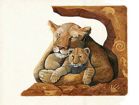 Lion - Protect our Children painting by Linda Apple
