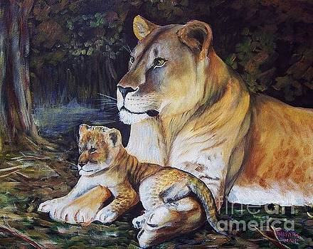 Lioness and Cub by Ruanna Sion Shadd a'Dann'l Yoder