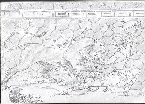 Lioness and Gladiator by Alan Lancaster
