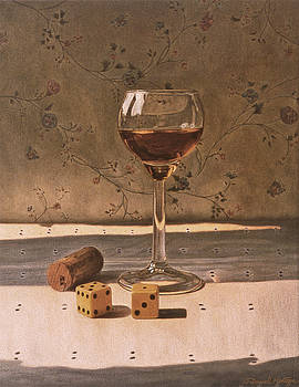 Liqueur Glass and Pair of Dice by Daniel Montoya