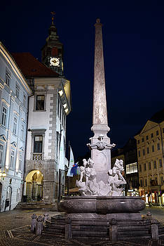 Lit Robba Fountain of the Three Rivers in the Town Square of Lju by Reimar Gaertner