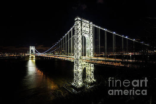 Fully Lit up George Washington Bridge  by Greg Gard