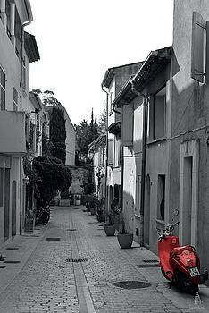 Little street red scooter Saint-Tropez by Tom Vandenhende