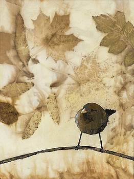 Little Bird On Silk With Leaves by Carolyn Doe