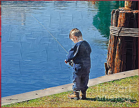 Little boy fishing by Margie Middleton