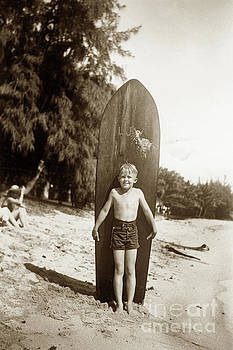 Little boy with Wooden Surfboard Circa 1960 by California Views Mr Pat Hathaway Archives