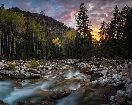 Little Cottonwood Creek Fall Sunset by James Udall