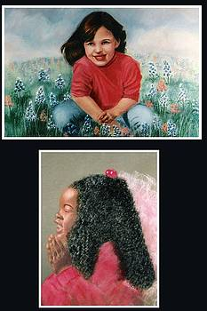 Little Girl in Bluebonets by Kathy Gray