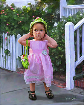 Little Girl in Pink Dress by Norman Drake