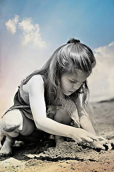 Little Girl on the Beach by Pamela Patch