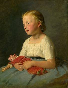 Little girl with a doll, Gyula Benczur 1863 by Vintage Printery
