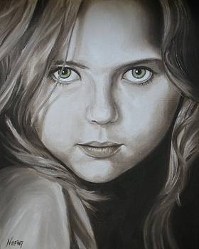 Little Girl with Green Eyes by Jindra Noewi