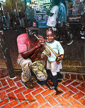 Little Girl with Trumpet Player on Bourbon by John Boles