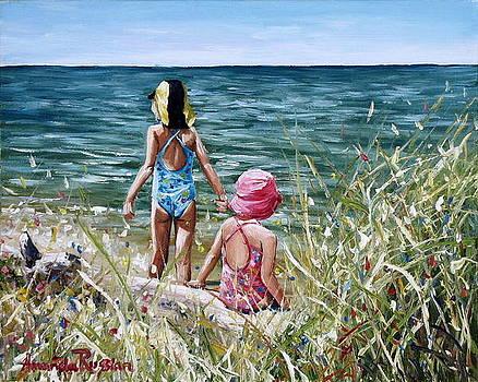 Little Girls on the Beach by Amanda Russian