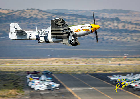 John King - P51 Mustang Little Horse Gear Coming Up Friday at Reno Air Races 5x7 Aspect Signature Edition