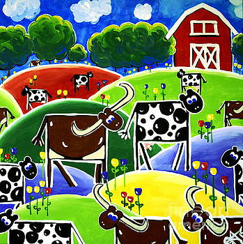 Little Red Barn Texas Longhorns Dairy Cows Hills Flowers Trees by Jackie Carpenter