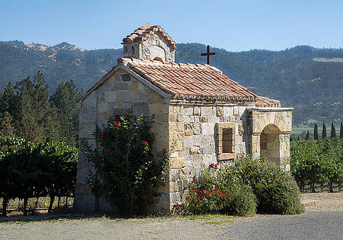 Little Stone Chapel in Vineyards of Napa Valley by Anne Branson