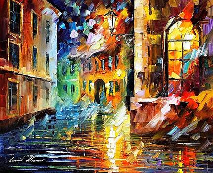 Little Street - PALETTE KNIFE Oil Painting On Canvas By Leonid Afremov by Leonid Afremov