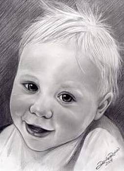 Little Toddler Boy Pencil Portrait Drawn From Photo by Darla Dixon