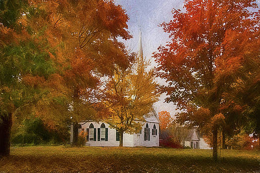 Little white Church in New Salem Massachusetts  Autumn by Jeff Folger