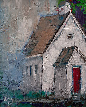 Little White Church on the Corner Christian Painting  by Gray Artus