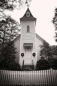 Little White Church with Christmas Wreaths by Matt Plyler