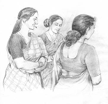 Live Sketch-women In Sari by Abdul Rahim N S