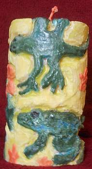 Lizard And Frog Candle by Darlene Custer