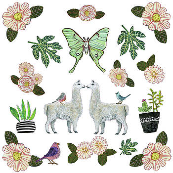 Llama and Luna Moth Pattern by Blenda Studio