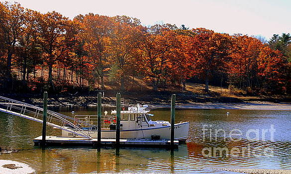 Lobster boat in autumn by Lennie Malvone