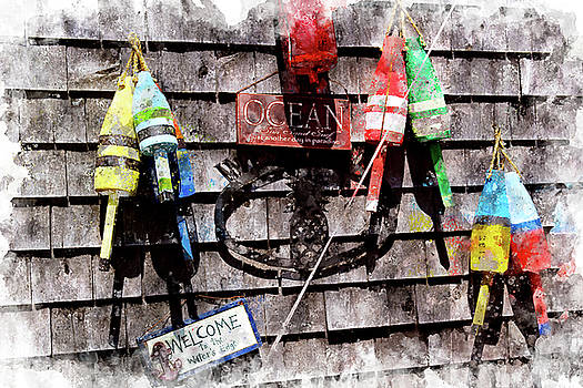 Lobster Buoys on Wall by Peter J Sucy
