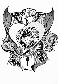 Locked Heart Surrounded by Roses Drawing by Kenal Louis