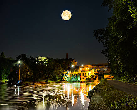 Chris Bordeleau - Lockport Locks under a Full Moon