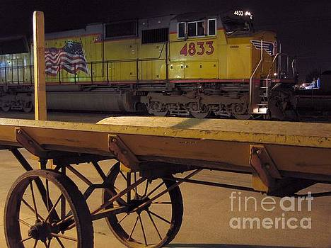 Locomotive and Baggage Cart by James B Toy