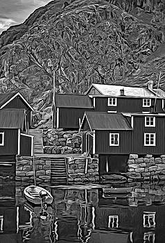 Steve Harrington - Lofoten Fishing Huts - Paint 2 bw